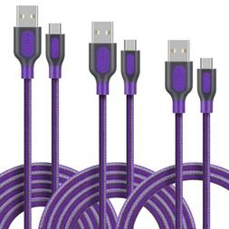 Micro USB Cable, Fasgear Family 3-pack Nylon Braided Lines F