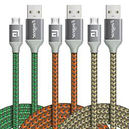 Micro USB Cable, 3 pcs  Fasgear Nylon Braided Tangle-Free Fa