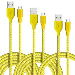 Micro USB Cable, 3-Pcs  Fasgear Nylon Braided USB 2.0 High S