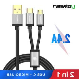 UGREEN USB Cable Micro USB Splitter Cable Dual USB-C Type C