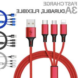NEW Fast USB Charging Cable Universal 3 in 1 Multi Function
