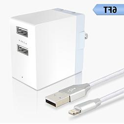 Quick Charge 3.0 30W Phone Wall Charger, 2 Ports USB Travel