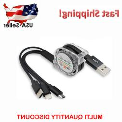 Retractable 3 in 1 Type C Micro USB Lightning Charging Cable