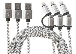 HIgh speed sync & charger 2Dual Tip Nylon Braided USB Cable