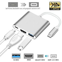 Type C USB 3.1 to USB-C HDMI 4K USB 3.0 Adapter Cable Hub 3