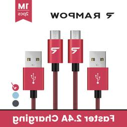 US RAMPOW 1M/3.3ft 2.4A Micro USB Cable Fast Charger Data Ca
