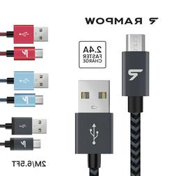 US RAMPOW 1M 2M 2.4A Micro USB Fast Charger Sync Data Cable