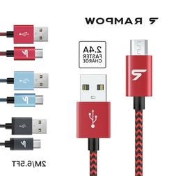 US RAMPOW 1M 2M Micro USB Fast Charger Data Sync Cable For S