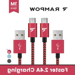 US RAMPOW 2x 1M 2.4A Micro USB 3.0 Data Sync Charger Cable F