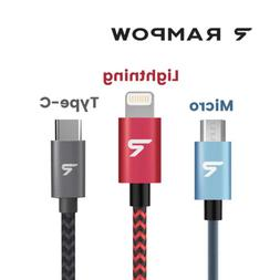 US RAMPOW MFi Lightning Micro USB Type-C Fast Charger Cable