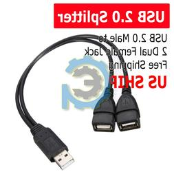 USB 2.0 A Male To 2 Dual USB Female Jack Y Splitter Hub Powe