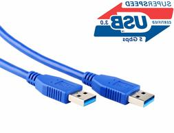 USB 3.0 A Male to A Male USB to USB Cable Cord 2 Feet Data T