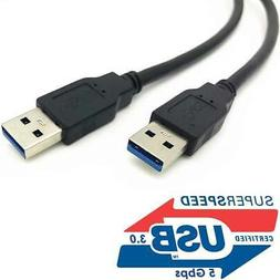 USB 3.0 A Male to A Male USB to USB Cable Cord Blue 6 Feet D