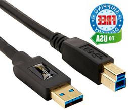AmazonBasics USB 3.0 Cable - A-Male to B-Male - 9-Feet , 10-