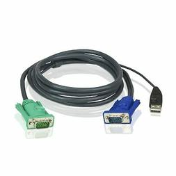 ATEN USB KVM Cable, SPHD-15 Male to VGA and USB A 2L5203U, 1