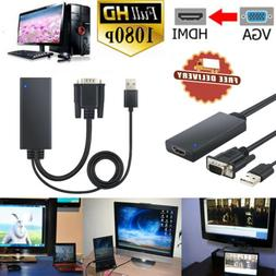1080P VGA to HDMI Adapter Converter With Audio+2-in-1 USB Su